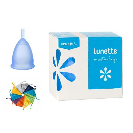 Bộ cốc nguyệt san Lunette, nhập khẩu chính hãng (màu xanh dương, size 2 + nước rửa 150 ml + giấy lau)