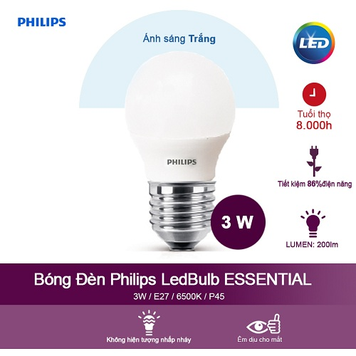 Bóng đèn Philips ESS LEDBulb 3-20W E27 6500K 230V P45(APR) - Ánh sáng trắng