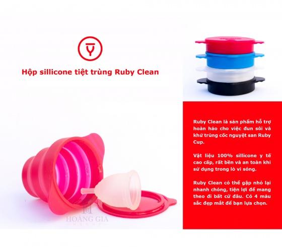 Cốc tiệt trùng cốc nguyệt san Ruby Clean - Nhập khẩu chính hãng từ Anh (màu trong suốt) [QC-Vneshop]