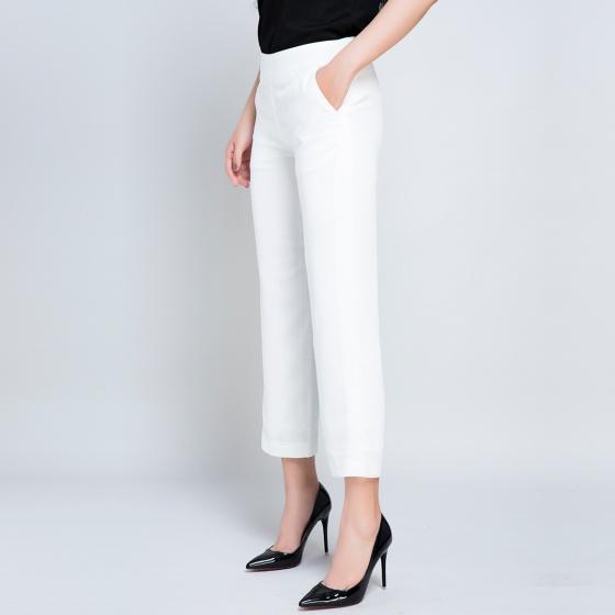 Quần lửng ống suông hai lớp thời trang thiết kế Hity Pan021 (trắng blanc)