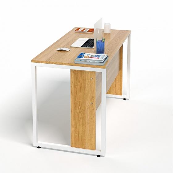 Bộ bàn làm việc CZN-Hidu gỗ cao su veneer sồi chân trắng và ghế eames trắng   - COZINO