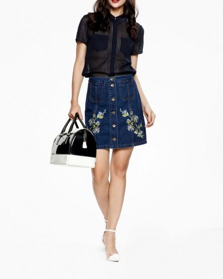 Mimi - chân váy jeans thêu hoa