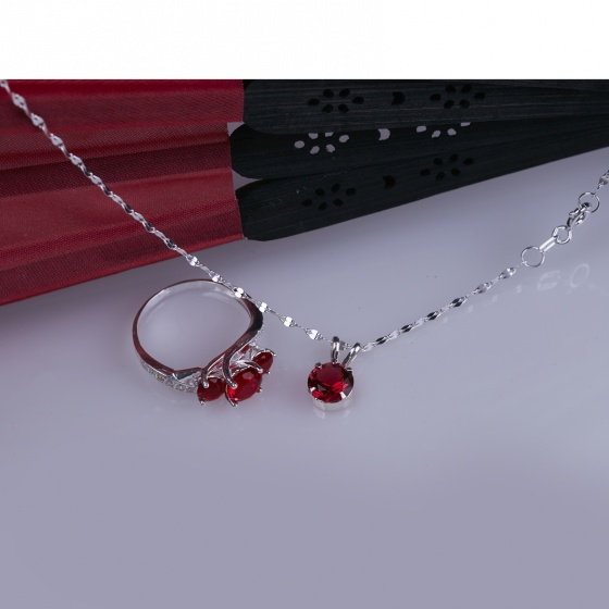 Opal- Bộ sản phẩm bạc đính đá ross đỏ _ T05