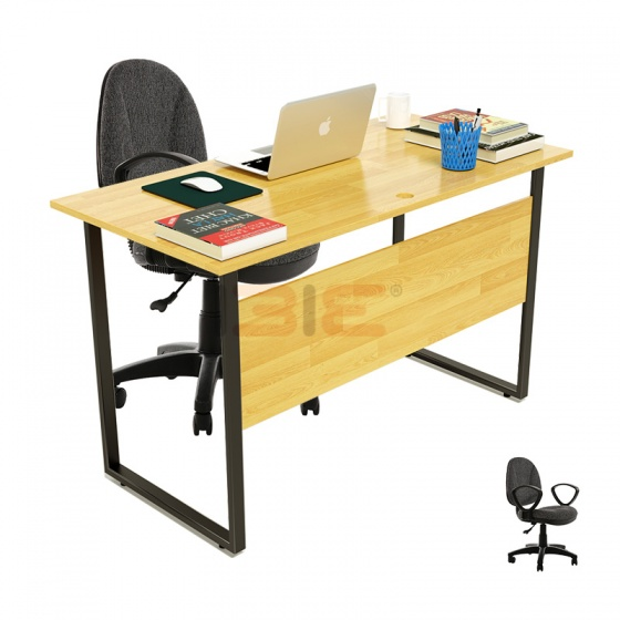 Bộ bàn Rec-F Plus chân đen màu tự nhiên và ghế IB505 đen - IBIE