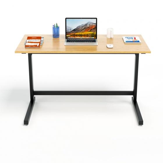 Bộ bàn làm việc CZN-Pisa gỗ cao su veneer sồi chân đen sồi và ghế eames trắng  - COZINO