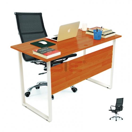 Bộ bàn Rec-F Plus chân trắng màu cánh gián gỗ cao su và ghế IB16A đen - IBIE