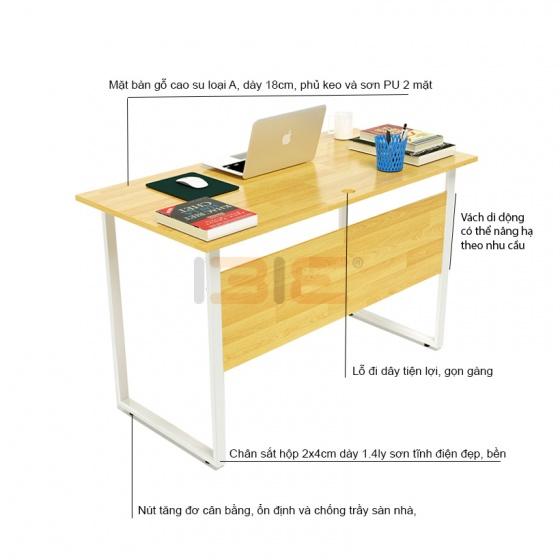 Bộ bàn Rec-F Plus chân trắng màu tự nhiên và ghế IB517 đen - IBIE