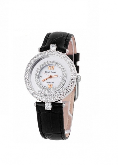 Combo 2sp đồng hồ nữ chính hãng Royal Crown 5308 dây đá vàng hồng và 3628 dây da đen