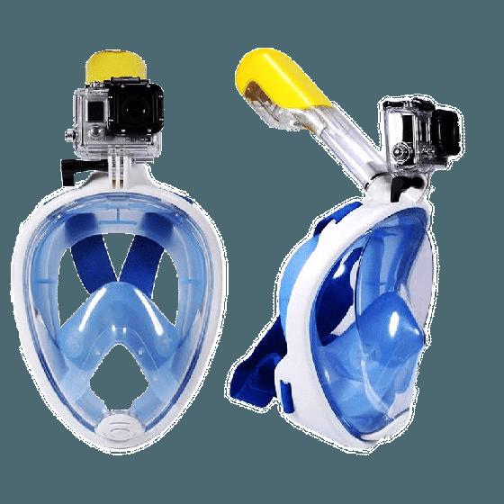 Mặt nạ lặn Full Face size L gắn được gopro, sjcam tầm nhìn 180 độ, ống thở ngăn nước POPO Collection (Xanh biển)