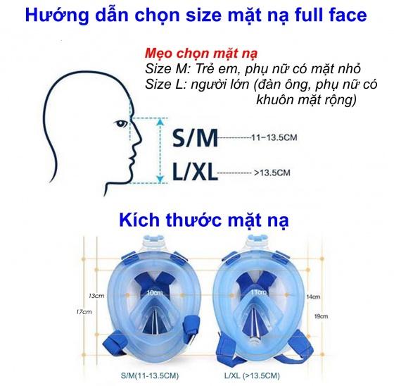 Mặt nạ lặn Full Face size M gắn được gopro,sjcam tầm nhìn 180 độ, ống thở ngăn nước POPO Collection (Hồng)