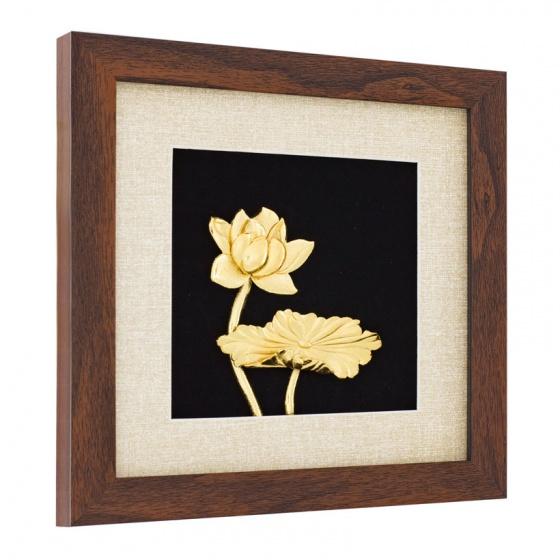 Quà tặng cao cấp - Tranh hoa sen mạ vàng để bàn