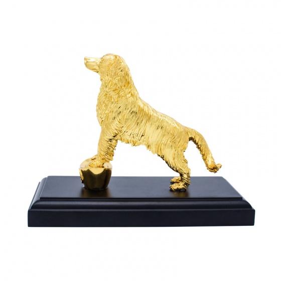 Tượng khuyển phú quý - Tượng chó đúc đồng mạ vàng