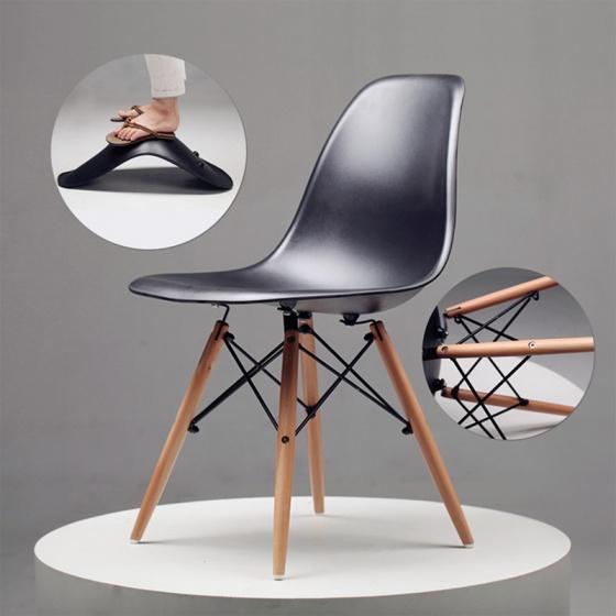 Bộ bàn làm việc CZN-Pisa gỗ cao su veneer óc chó chân đen và ghế eames đen  - COZINO