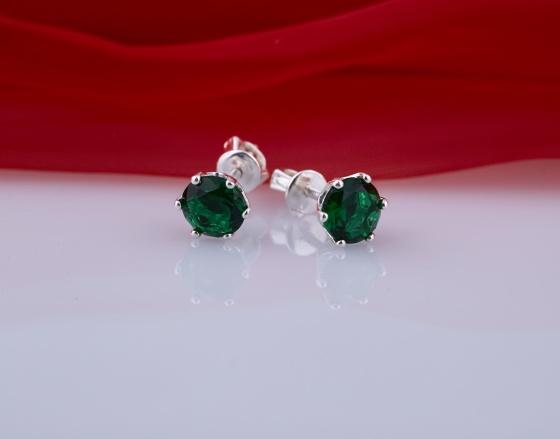 Opal - hoa tai bạc đính đá ross xanh lá _T06