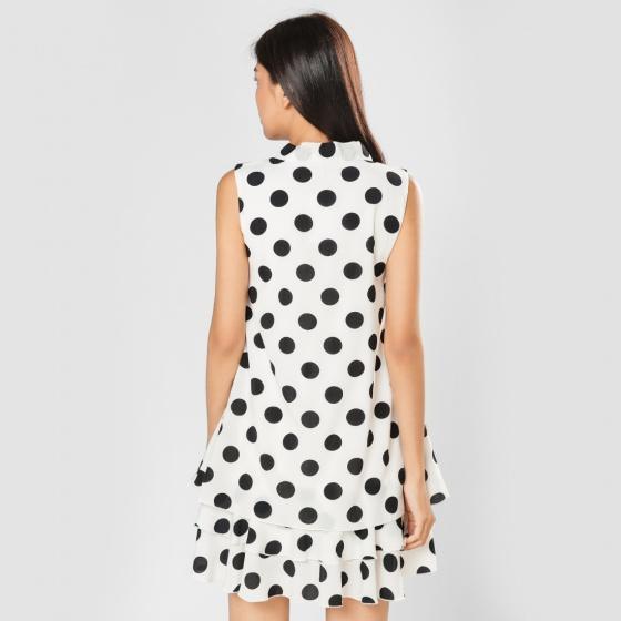 Đầm suông thời trang Eden chấm bi D296 (trắng)