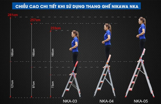 Thang nhôm ghế 3 bậc Nikawa NKA-03