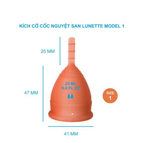 Bộ cốc nguyệt san Lunette màu cam, size 1 kèm nước rửa 150 ml và giấy lau tiệt trùng cốc