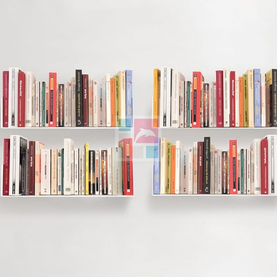 Kệ sách treo tường SMLIFE chữ U 45 (Set 4) - White - Màu trắng
