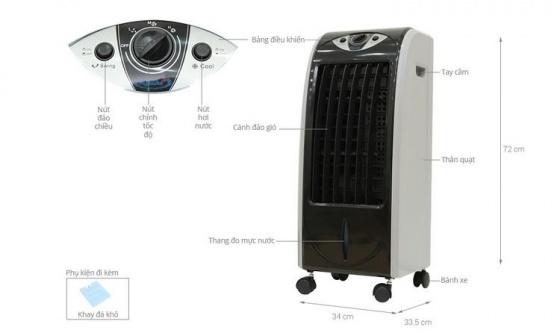Quạt làm lạnh không khí Kachi QLM01 (đen) + Tặng máy bắt vít DIY