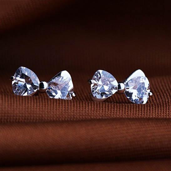 Bông tai nữ mạ bạc đá zircon bow - Tatiana - BB3304 (bạc)