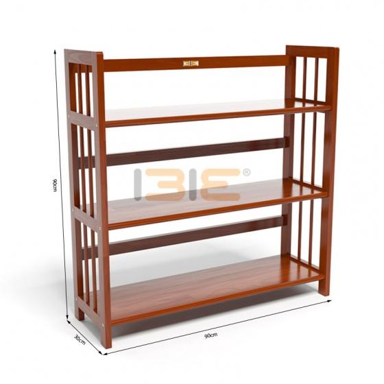 Kệ sách 3 tầng IBIE HB390 gỗ cao su màu cánh gián (90x30x90cm)
