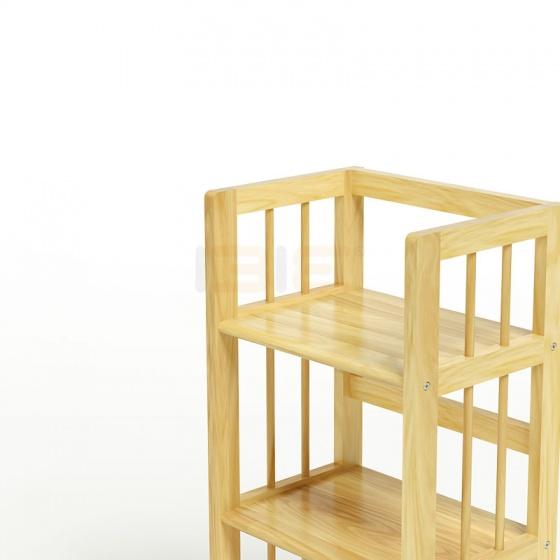 Kệ sách 3 tầng IBIE HB340 gỗ cao su màu tự nhiên (40x30x90cm)