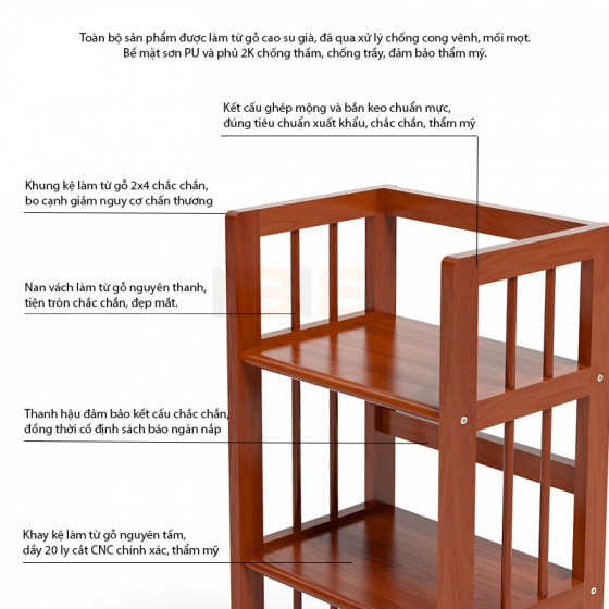 Kệ sách 4 tầng IBIE HB463 gỗ cao su màu cánh gián (63x30x120cm)