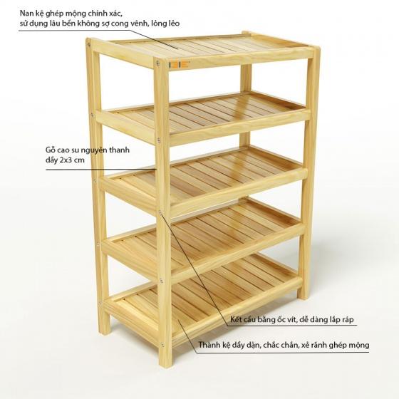Kệ dép 5 tầng IBIE IB563 gỗ cao su 63x30x86 cm màu tự nhiên