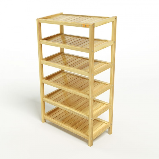 Kệ dép 6 tầng IBIE IB663 gỗ cao su 63x30x105 cm màu tự nhiên