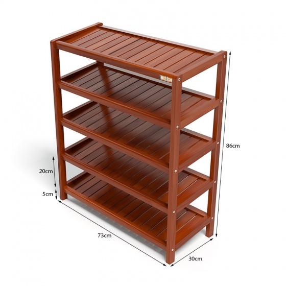 Kệ dép 5 tầng IBIE IB573 gỗ cao su 73x30x86 cm màu cánh gián