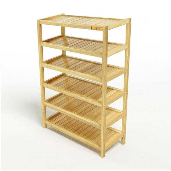Kệ dép 6 tầng IBIE IB673 gỗ cao su 73x30x105 cm màu tự nhiên