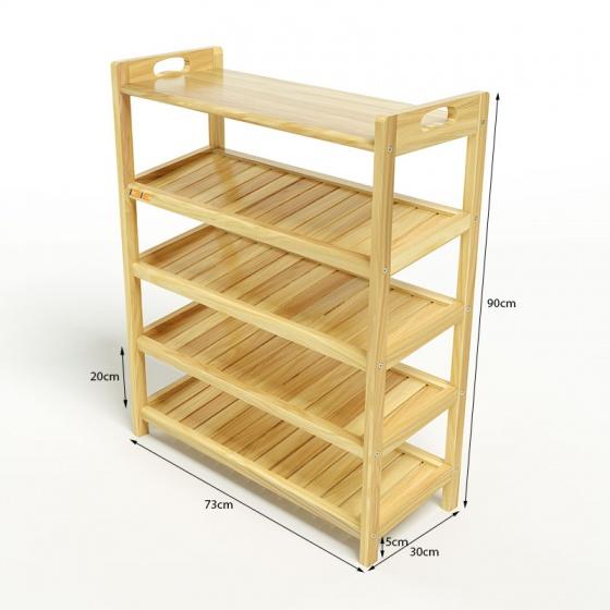 Kệ dép 5 tầng ván IBIE IV573 gỗ cao su 73x30x90 cm màu tự nhiên