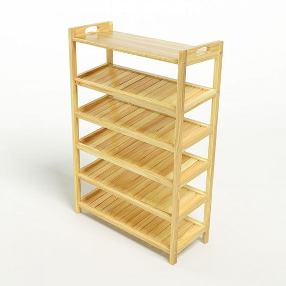 Kệ dép 6 tầng ván IBIE IV673 gỗ cao su 73x30x110 cm màu tự nhiên