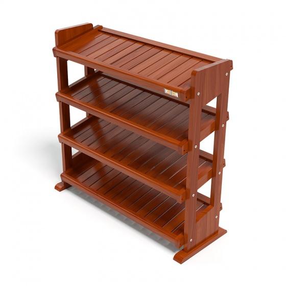 Kệ dép 4 tầng IBIE IB480 gỗ cao su 80x30x75 cm màu cánh gián