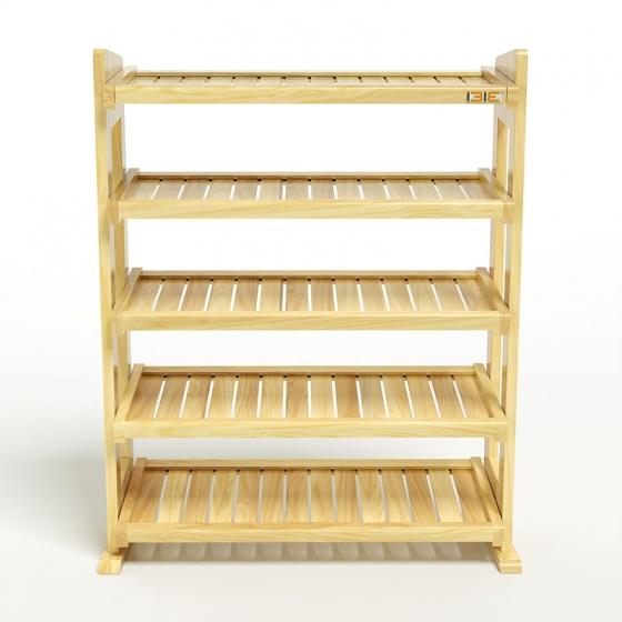 Kệ dép 5 tầng IBIE IB580 gỗ cao su 80x30x98 cm màu tự nhiên