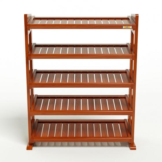 Kệ dép 5 tầng IBIE IB580 gỗ cao su 80x30x98 cm màu cánh gián