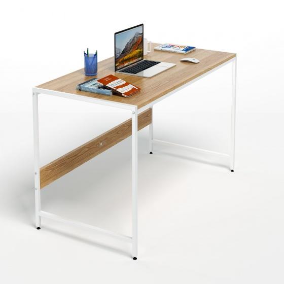 Bộ bàn làm việc CZN-Airy gỗ tự nhiên veneer sồi chân trắng và ghế eames trắng  - COZINO