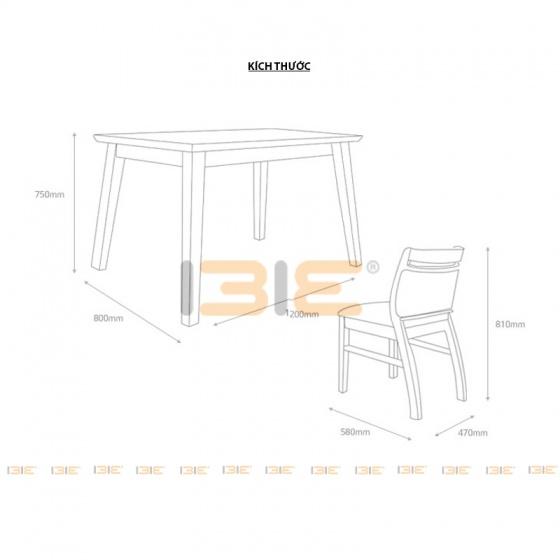Bộ bàn ăn 4 ghế IBIE Dotori màu tự nhiên