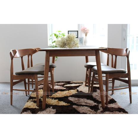 Bộ bàn ăn 4 ghế IBIE Suwon màu Mahogany