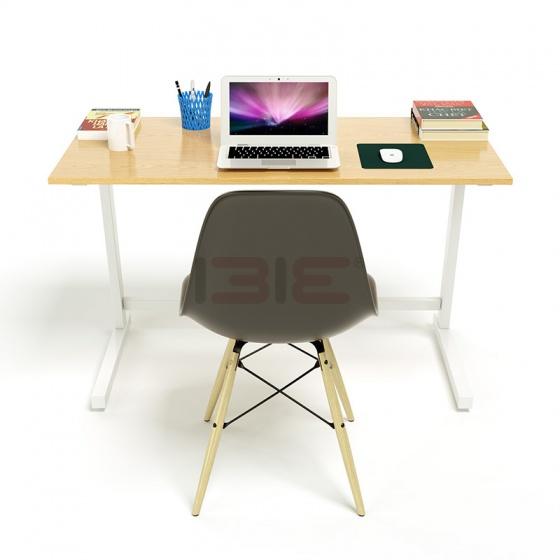 Bộ bàn IBIE Oak-Z trắng vân sồi và ghế Eames chân gỗ đen