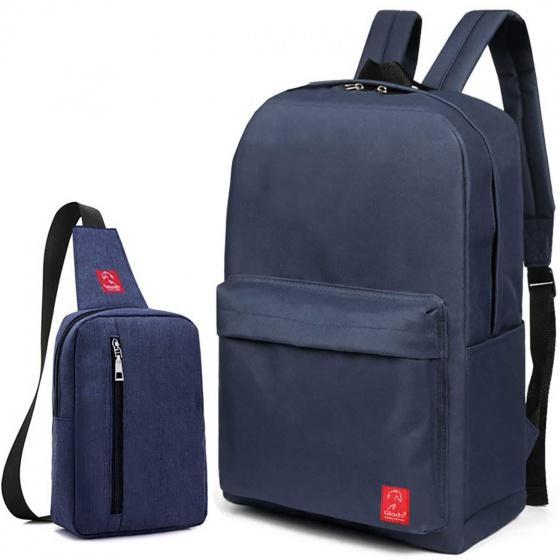 Combo balo du lịch Glado classical BLL002 (xanh) + túi messenger DCG026 (xanh)