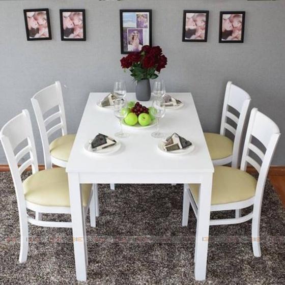 Bộ bàn ăn 4 ghế IBIE Ulsan màu trắng