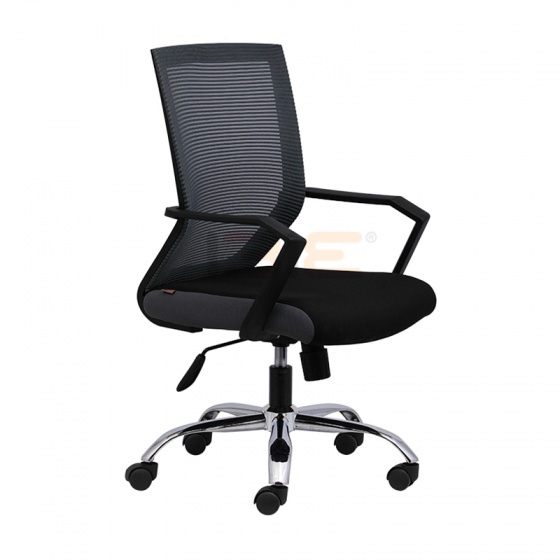 Ghế lưới văn phòng IBIE IB1012 chân thép mạ cao cấp màu đen