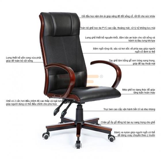 Ghế giám đốc IBIE IB20202 cao cấp màu đen