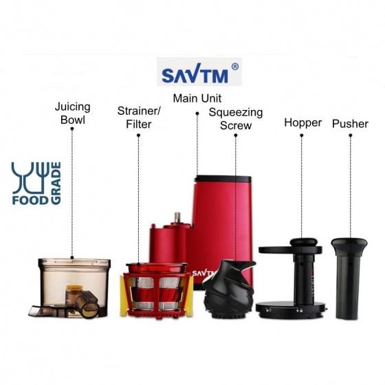 Máy ép chậm giàu vitamin SAVTM New Version 2017 - Hàng nhập khẩu (Đỏ)