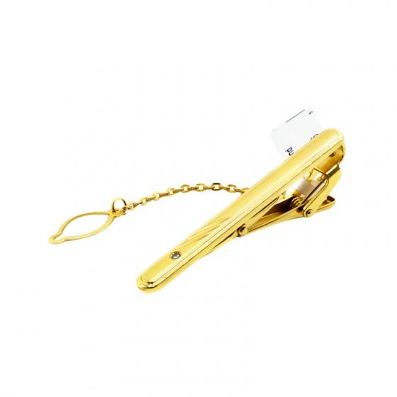 Kẹp cà vạt mạ vàng, đính kim cương cao cấp – CRV0103
