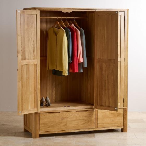 Tủ quần áo Emley 3 cánh 2 ngăn kéo gỗ sồi 1m8 - Cozino