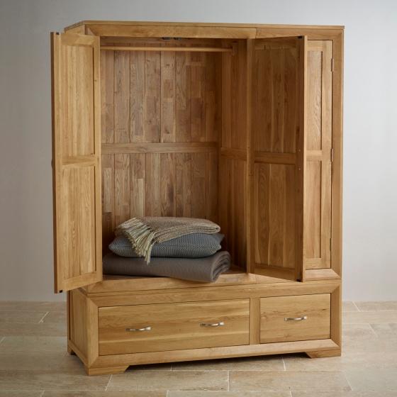 Tủ quần áo Camber 3 cánh 2 ngăn kéo gỗ sồi 1m8 - Cozino