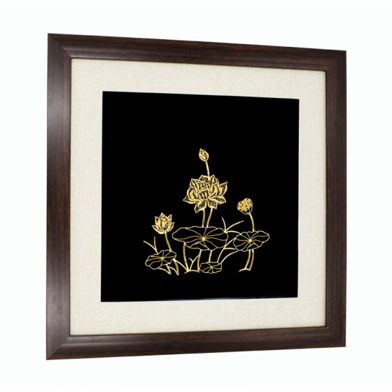 Tranh hoa sen mạ vàng 24K – THSMV01