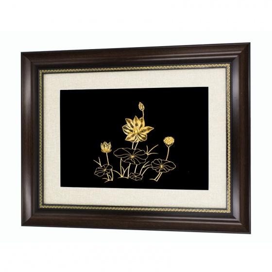 Quà tặng nước ngoài - Tranh hoa sen mạ vàng – THSMV03